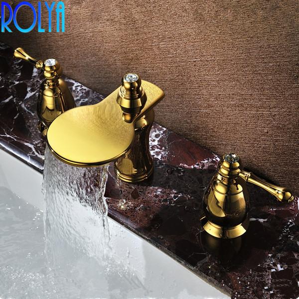 2020 Rolya Luxurious Waterfall Golden Bathroom Faucet 8 Inch