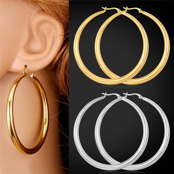 U7 Grandi orecchini Nuovi orecchini alla moda rotondi in acciaio inossidabile placcato in oro 18k / gioielli di moda placcati oro reale per le donne