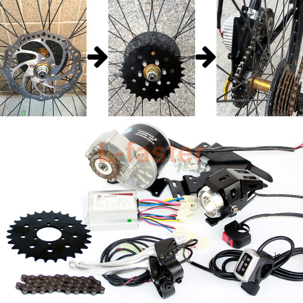 350W Electric Bike Chain Drive Kit Can Fit Bike Use 44mm Disc Brake Electric Bicycle Side Mounted Brush Motor Kit 16T Freewheel