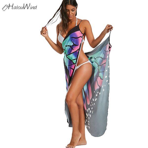 Boho Sexy Femmes Plage Cover Dress Up Multifonction D'été Nouveau Beachwear Tuniques Papillon Sans Manches Long Wrap Robe Robe Femme Y190507
