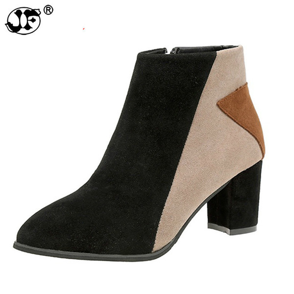 Women Ankle Boots Elastic High Square Thin Heels Pointed Toe Zippers Mixed Colors Genuine Leather Lady Woman Boot Shoes896