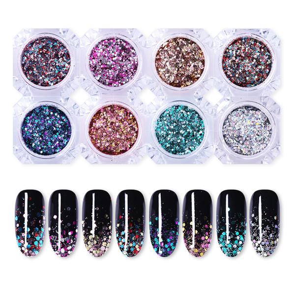 Nail Sequins Glitter 3D Nail Art Decoraciones Gradiente colorido diseño de manicura DIY para UV Gel Polish 1g