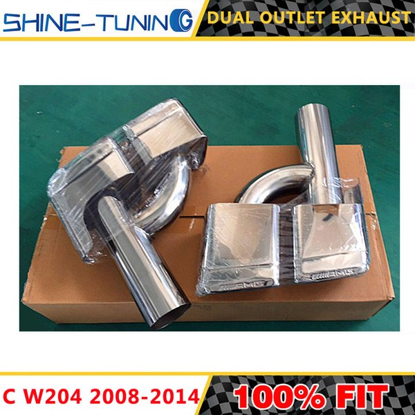 AMG Style Exhaust Pipe Muffler Tip Stainless Steel 4 Outlet Double End Pipe Tail Tip Fit E63 Merc W204 W212 Auto Parts