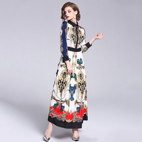 Женщины Лето Осень Платья Для Женщин Печать Бренда Дизайн Макси Платье Длинные Повседневные Знакомства Качества Платья Партии Халат Femme Habille