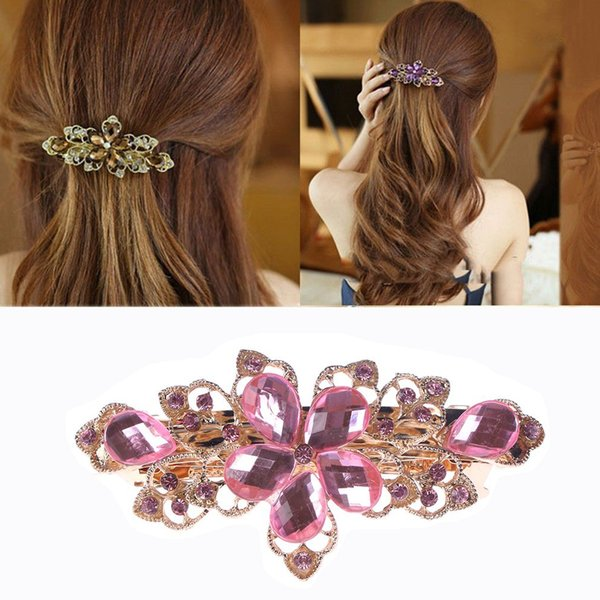Shiny Women Hairpins Rhinestone Crystal Flower Hair Clips for Women Metal Barrettes Floral Hair Accessories Girls clips