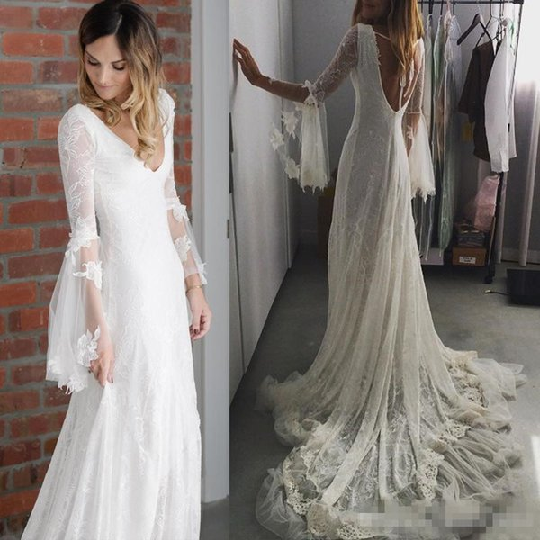 Romantic Bohemian Wedding Dresses Full Lace Deep V Neck Long Sleeve Backless Chapel Train greek goddess Mermaid Wedding Dress Novia