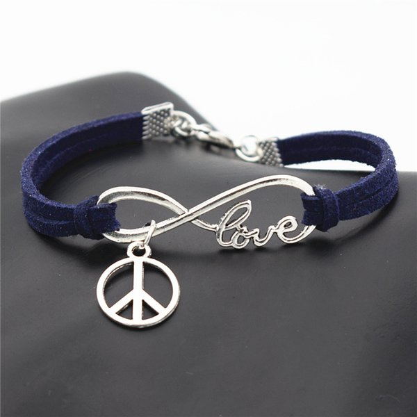 Silver Alloy Infinity Love Round Peace Symbols Charm Bracelets & Bangles Personalized Fashion Dark Navy Leather Rope Women Men Jewelry Gifts