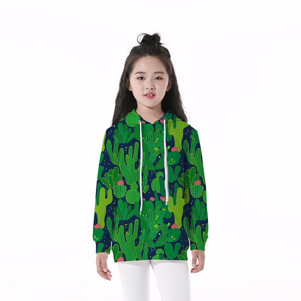 Sweat à capuche pour enfants Cactus 3D numérique Full Print Casual Boy Girl Pull Hoodies Enfants manches longues Unisexe Sweat à capuche Tops