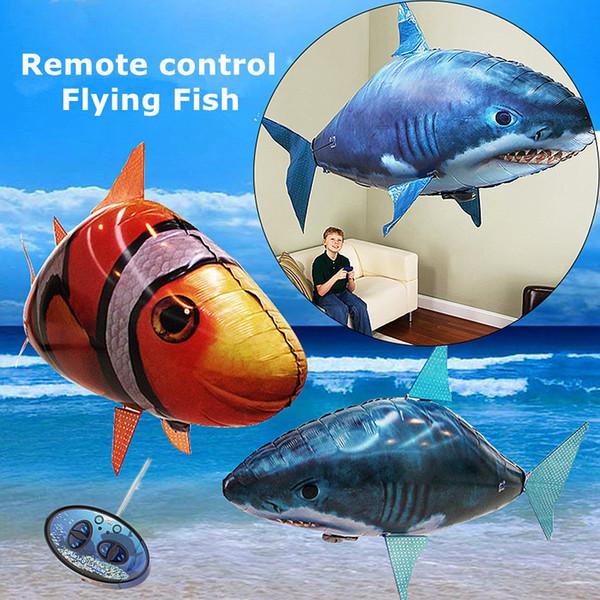 1 PZ Telecomando Volare Air Shark Giocattolo Pesce pagliaccio Palloncini RC Elicottero Robot Regalo Per I Bambini Gonfiabile Con L'elio Pesci aereo