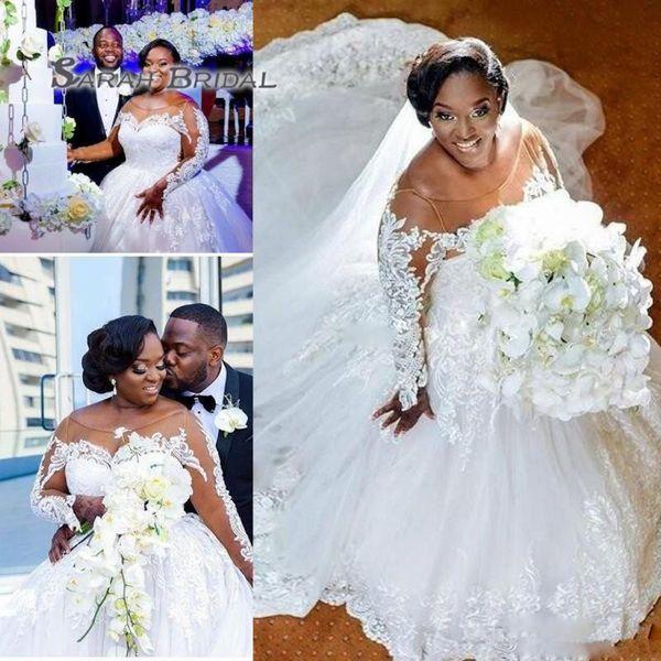 best selling Saudi Arabic Plus Size Wedding Dresses Sheer Neckline Lace Appliques Long Sleeves Wedding Dress Bridal Gowns A Line Long Train Custom Made