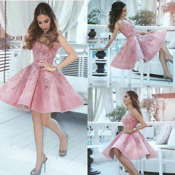 Compre Vestidos De Fiesta Cortos Con Cuentas 2019 Rosa Con Cuello En V Una Línea De Encaje Apliques Vestidos De Noche Baratos Vestidos De Fiesta De