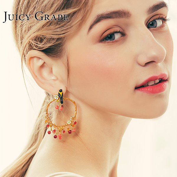 Juicy Grape 2019 New Enamel Glaze Oriole Bird Cherry Earring 925 Silver Needle Stud Earrings Women Christmas Fashion Jewelry T7190617