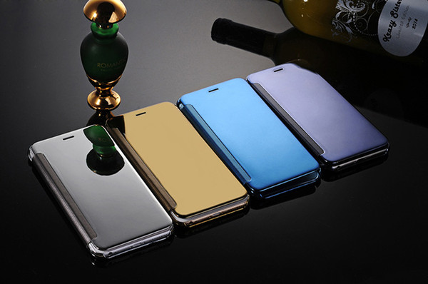 Clear Mobile Phone Cover Transparent Mirror PC+PU Flip Cover Case for iPhone 8PLUS XR X flip mobile cover sleep mirror case for Samsung