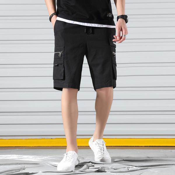 2019 verão calções masculinos casuais 100% algodão shorts de carga streetwear com dois grandes tamanho de bolso seguro M a 5XL