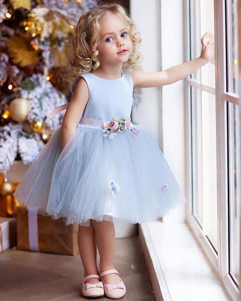 fc2394e22 Cute Flower Girl Dresses Light Blue Little Girls Pageant Dresses Princess  Children Wedding Gown Flower Sash