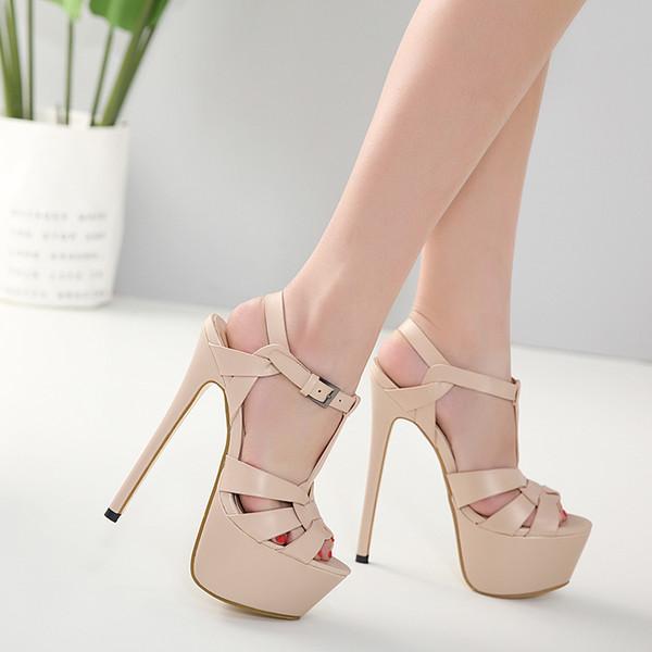 avatarstore1840 / Bege Sandals tornozelo cinta sandálias de verão Carregadores das mulheres de salto alto Sapatos Salto Fina Correia alta Mulheres causais Sandálias
