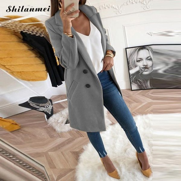 2018 New Women Long Sleeve Turn-Down Collar Outwear Jacket Wool Blend Coat Casual Autumn Winter Elegant Overcoat Loose Plus Size T5190612