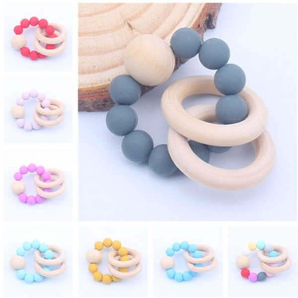 New Baby Round Ring Teething Bracelet Food Grade Silicone Chewable Bead Gum