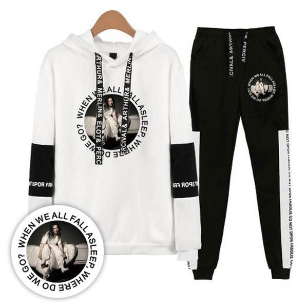 Set de dos piezas Billie Eilish Mujer / Hombre Sudaderas con capucha Sudaderas y pantalones deportivos Hombres Casual Traje deportivo de hip hop Chándal Conjunto de gran tamaño