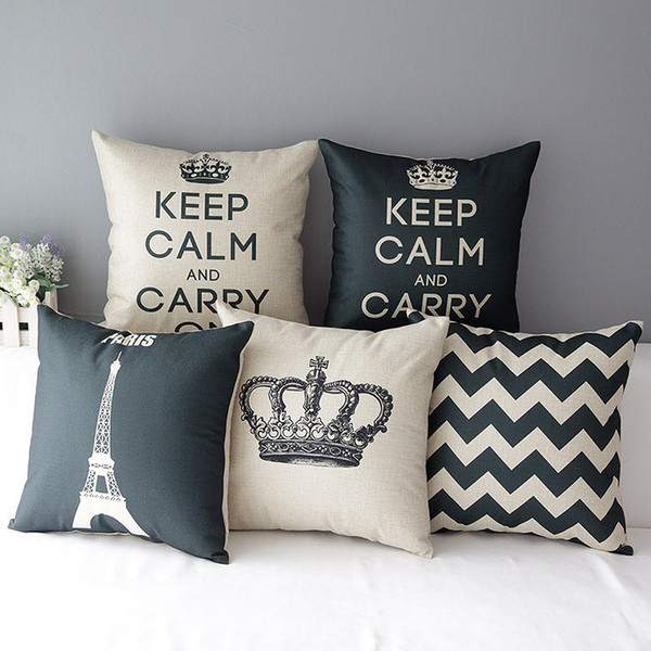 Nordic Modern Paris Eiffel Tower Cushion Covers Crown KEEP CALM AND CARRY ON Cushion Cover Linen Cotton Pillow Case For Bedroom Decoration