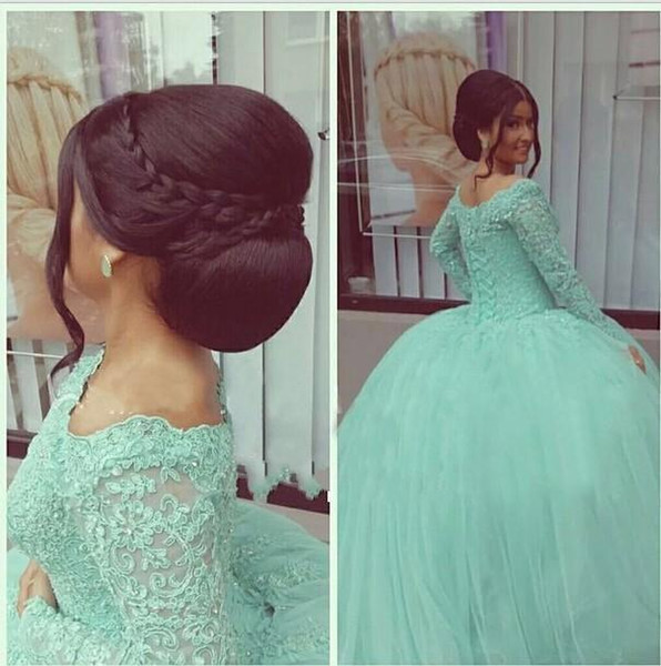 New Long Sleeves Mint Green Quinceanera Dresses Bateau Appliques Ball Gown Tulle 16 Sweet Prom Party Gowns vestidos de Cheap 125