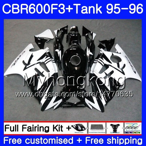 Bodys white glossy black+Tank For HONDA CBR 600 F3 FS CBR600FS CBR600 F3 95 96 289HM.28 CBR600RR CBR600F3 95 96 CBR 600F3 1995 1996 Fairing