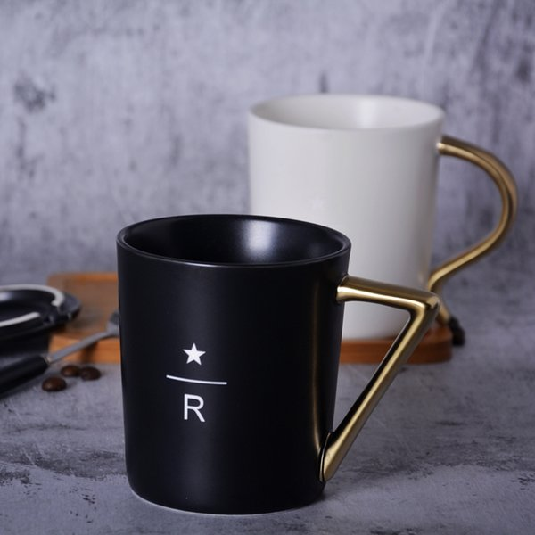 243baa7f713 Classic Starbucks Style Letter R Relief Gold Handle Mug Balck & White  Ceramic Coffee Cup 350ml With Golden Spoon Wooden Lid Coaster Stainless  Steel ...