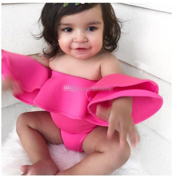 NS Baby girls ruffle Off Shoulder romper cotton infant Strapless Jumpsuits 2019 summer Fashion Boutique kids Climbing clothes C