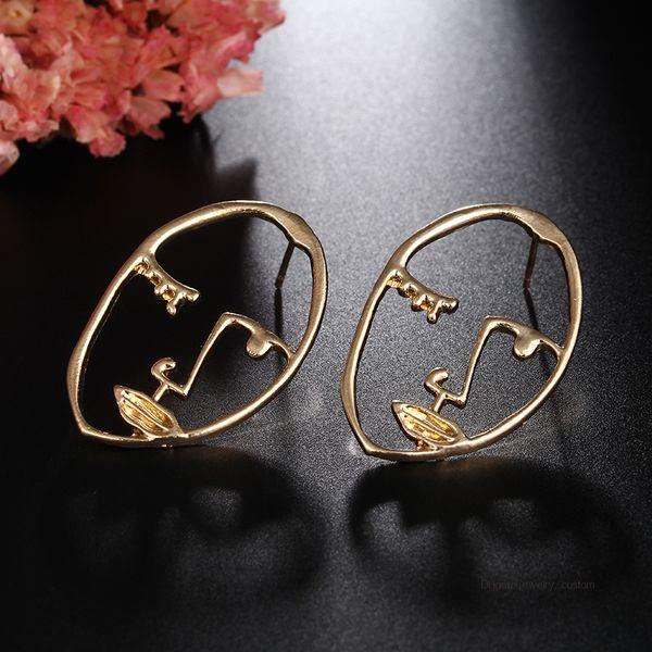 Simple Punk Style Abstract Art Earrings Face Shape Sculpture Drop Earrings Personalized Statement Earring Fashion Jewelry E0431