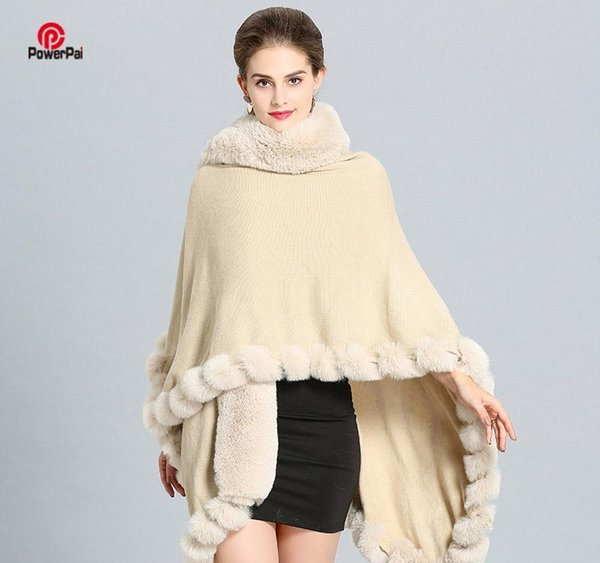 Mode Luxus-Handwerk Fox-Pelz-Mantel Cape Lange Big Kaschmir-Pelz-Mantel-Mantel-Schal Frauen Herbst-Winter-Wraps Poncho