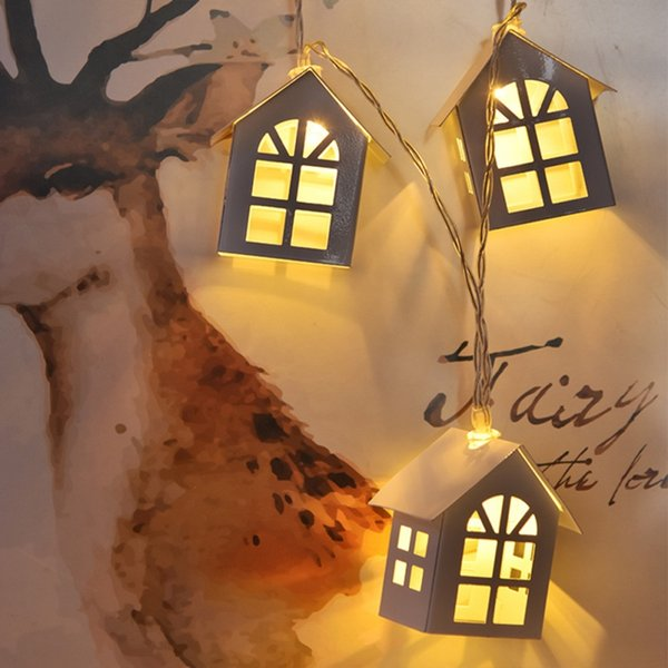 1.5M Creativo DIY Luz LED de madera de madera HOUSE String Wedding Garland Año Nuevo Decoraciones navideñas para la fiesta de Navidad