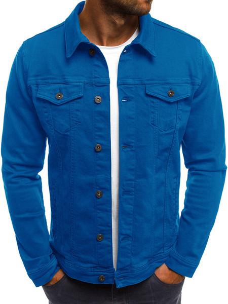 Moda-Button solido Colore della giacca Vintage Denim Tops Autunno Inverno risvolto del collo del cappotto Mens Giacca di jeans casual cappotto di baseball