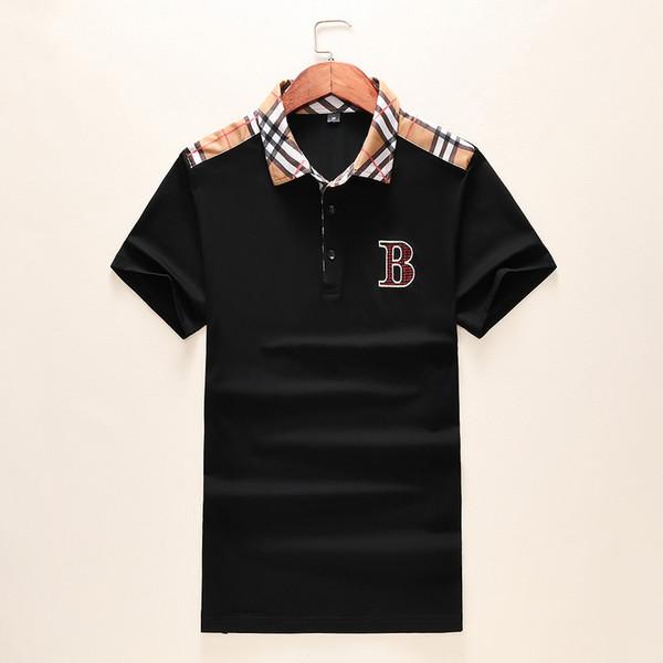 Dış ticaret yeni yaka kısa kollu erkekler Ekose dikiş T-shirt Pamuk high-end Avrupa ve Amerikan patlama modelleri
