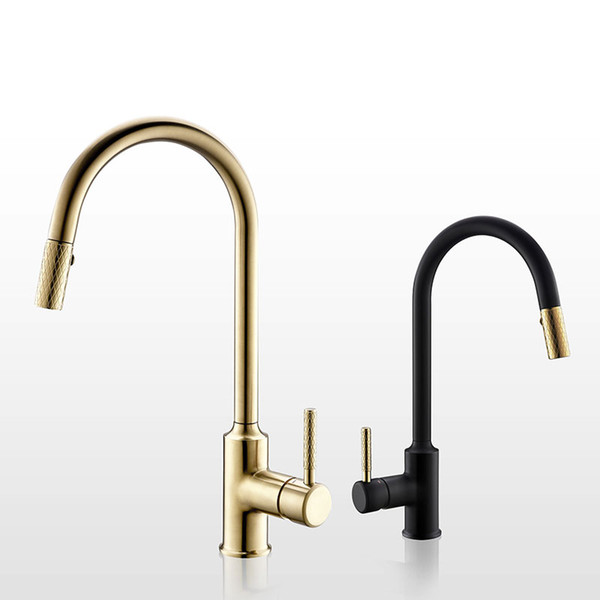 2019 Brushed Gold Kitchen Faucet Brass Sink Cold And Hot Mixer Tap Knurling  Pull Out Taps Double Water Setting Mode From Qqq541278, $124.13 | ...
