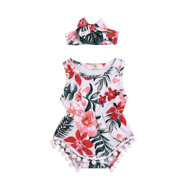 Kleinkind Kind Baby Mädchen Jungen Sleeveless Overall Stirnband Blumen Print Quaste Outfit Kleidung 2 STÜCKE