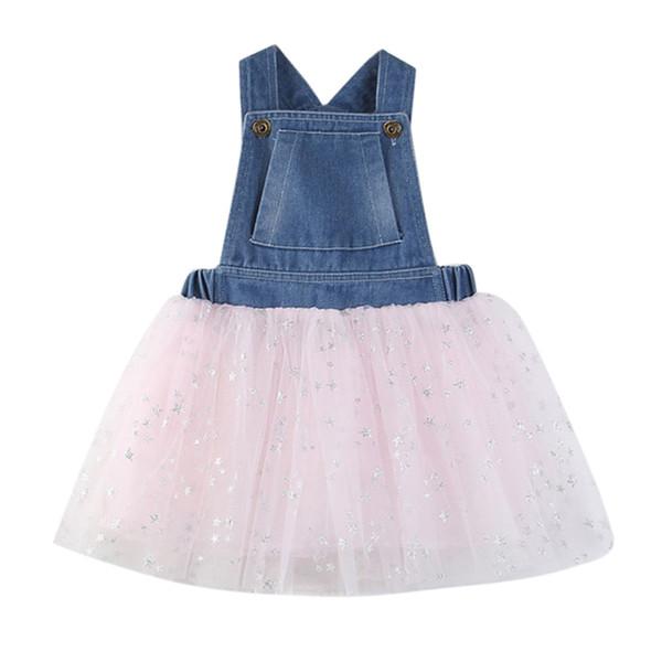 Toddler Enfants Bébé Filles Robe Enfants Robes D'été Pour Les Filles Denim Splice Tulle Parti Pageant Princesse Robes Mesh