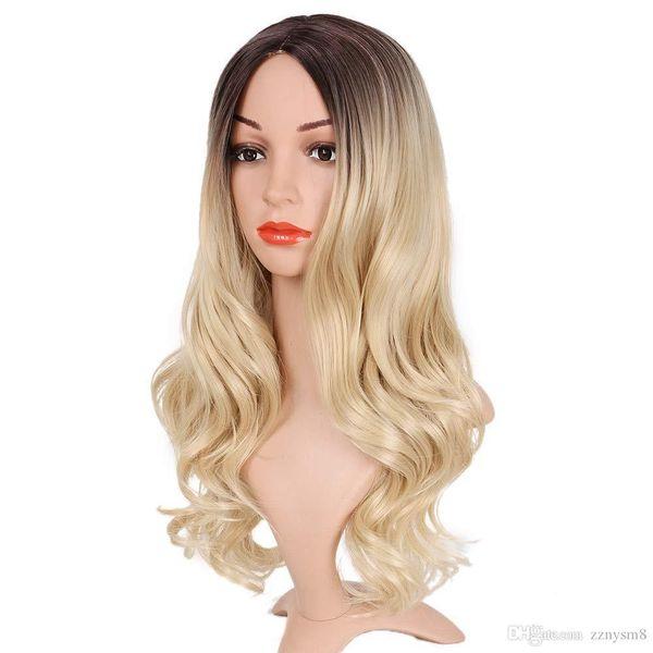 Средняя часть Ombre белокурый парик для женщин Термостойкое волокно Дамы Daily Cosplay Длинные волнистые волосы вьющимися Synthetic Blonde парик