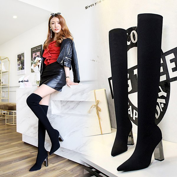 Pointed Toe Metal Decoration Fashion Women Over-the-Knee Boots Super High Solid Long Thigh Boots Square Heel Winter Shoes