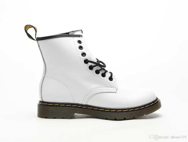 """Fashion invisible taller and slimmer leather midsole lace-up simple Martin boots """"milk white and black soles"""