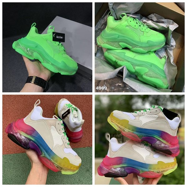 Designer Triple S Rainbow Casual Shoes Men Neon Green Triple S Sneaker Women Leather Casual Shoes Low Top Lace-Up Casual Flat Shoes 23