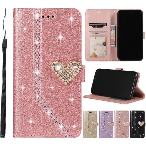 30 pezzi Cassa di cuoio del telefono vendita mista a forma di cuore di scintillio PU per iPhone 11 Pro X XR XS Max 6 7 8 e Samsung Note 8 9 10 Pro S8 S9 S10 Più