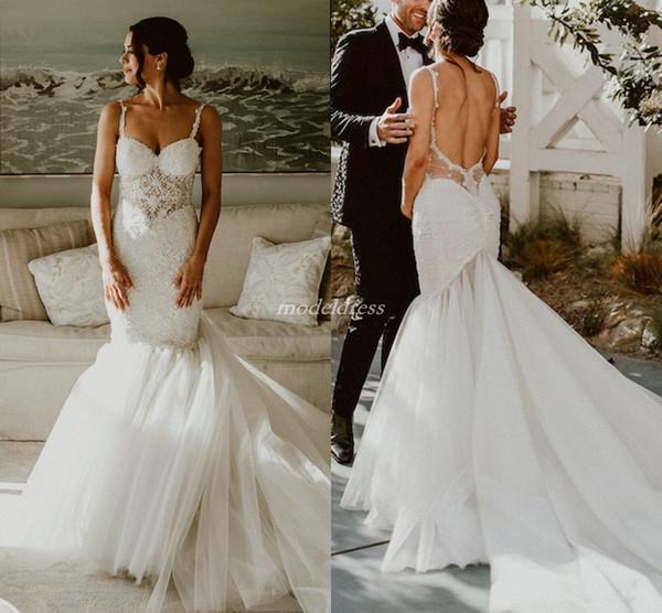 2019 Delicate Backless Sirena Vestidos de novia Spaghetti Sweep Tren Apliques Granos Ilusión Bodice Jardín País Árabe Vestidos de novia