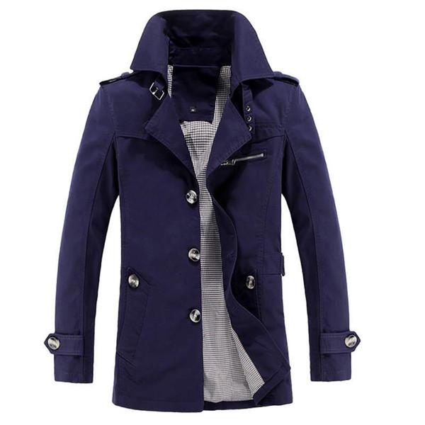 OLOEY Nuovo arrivato 2018 primavera Giacca a vento lungo Trench Coat Uomini 5 COLORI cotone abbigliamento di marca il 95% più di formato M-XXXL 4XL 5XL