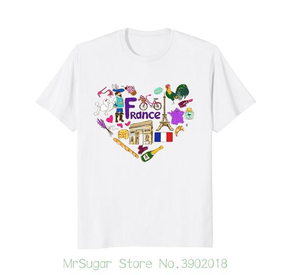 Francia Iconos Torre Eiffel Bandera Caniche Croissant Camiseta de los hombres de alta calidad personalizados impresos Tops Hipster Tees