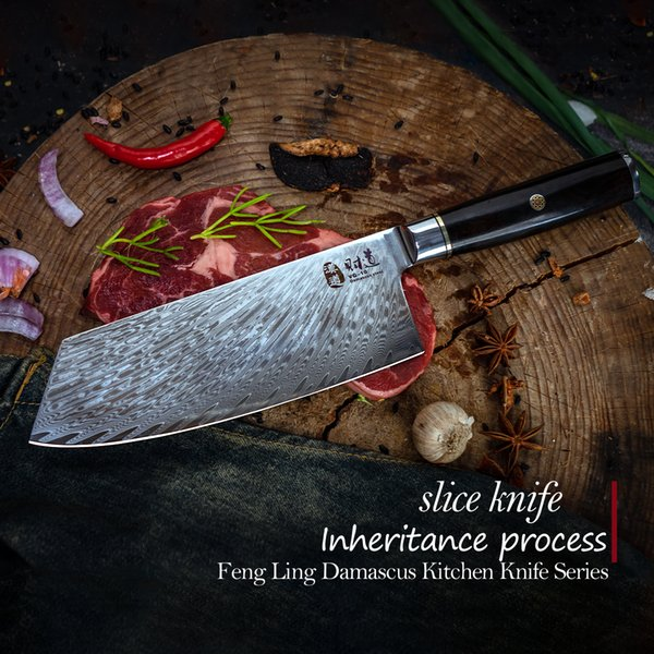 "Wholesale-HIGH QUALITY 7.5"" Damascus steel with VG10 core slice nife kitchen knife santoku knife with forged color process wood handle"