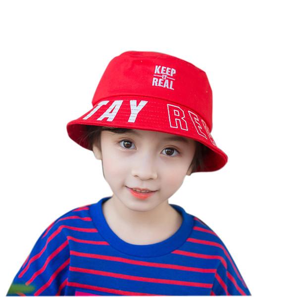 Spring new flat top niños cuenca sombrero mantener letras bordado sombrilla sombrero de pescador 4 colores