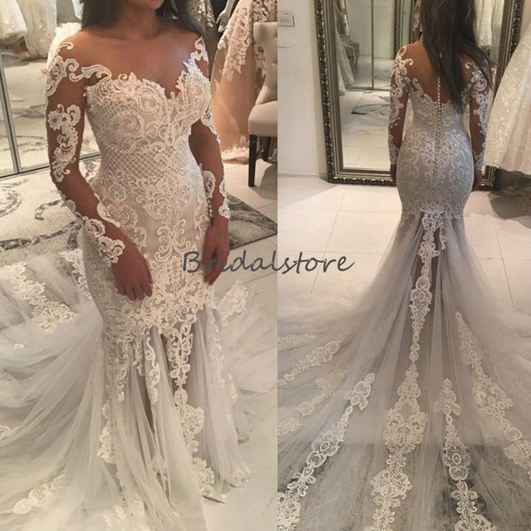 princess mermaid long sleeves country wedding dresses Retro Lace Appliques tulle Fishtail bridal gowns 2019 button back beaded wedding dress