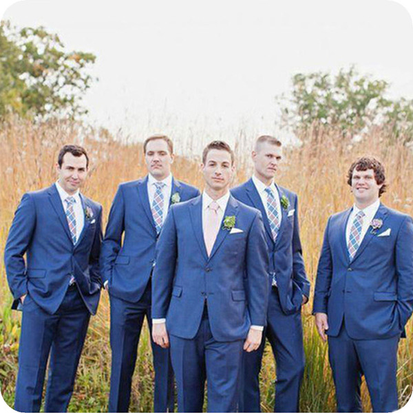 Latest Coat Pants Designs Blue Men Suits for Wedding Groomsmen Jacket Groom Tuxedo Slim Fit Custom Made Costume Homme 2Piece Terno Masculino