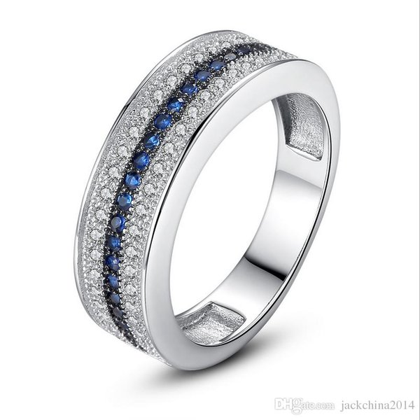 Drop Shipping Stackable Brand New Luxury Jewelry 925 Silver Fill 3 Rows Blue Sapphire CZ Diamond Engagement wedding Band Ring for Women Gift