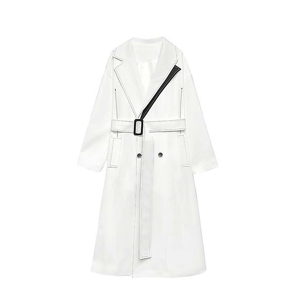 Woman Coats Turn-down Collar Belt White Black Color Matching Womens Trench Coats Color Matching Plus Size Long E191